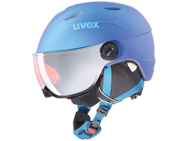 Kask z przyłbicą szybą Uvex Junior Visor Pro Blue Met Mat 2019 najtaniej